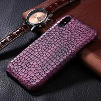 For iPhone X Crocodile Texture Paste Protective Back Cover Case (Purple)