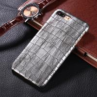 For iPhone 8 Plus & 7 Plus Crocodile Texture Paste Protective Back Cover Case (Silver)