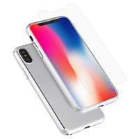 For iPhone X 360 Degree Full Coverage Detachable PC Protective Cover Case with Tempered Glass Film(Silver)
