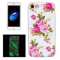 For iPhone 8 & 7 Noctilucent Rose Flower Pattern IMD Workmanship Soft TPU Back Cover Case