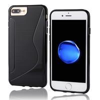 Apple Voor iPhone 7 Plus S-Shaped zachte TPU beschermings Cover hoesje(zwart)