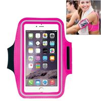 HAWEEL Sport Armband Case with Earphone Hole & Key Pocket for iPhone 6 Plus Samsung Galaxy S6 / S5(Magenta)