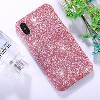 For iPhone X Colorful Sequins Paste Protective Back Cover Case (Pink)