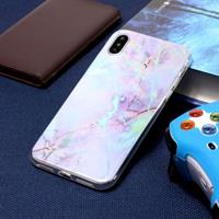 For iPhone X Pink Gold Marble Pattern Soft Protective Back Cover Case