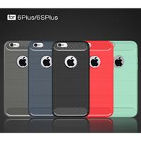 For iPhone 6 Plus & 6s Plus Brushed Texture Fiber TPU Rugged Armor Protective Case(Black)