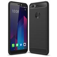 HTC Desire 12+ Case van Geborsteld TPU - Koolstofvezel - Zwart