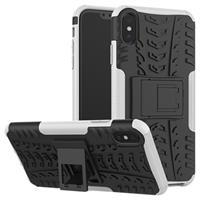 Anti-Slip iPhone XS Max Hybrid Case met Standaard - Wit / Zwart