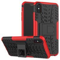 Anti-Slip iPhone XS Max Hybrid Case met Standaard - Rood / Zwart