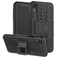 iPhone XR Anti-Slip Hybrid Case met Standaard Functie - Zwart