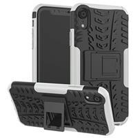 iPhone XR Anti-Slip Hybrid Case met Standaard Functie - Zwart / Wit