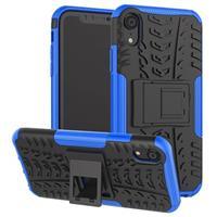 iPhone XR Anti-Slip Hybrid Case met Standaard Functie - Zwart / Blauw