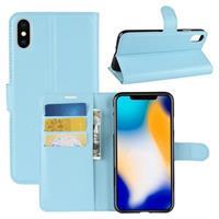 iPhone XS Max Textuur Portemonnee Hoesje - Lichtblauw