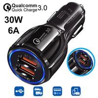 Quick Charge 3.0 30W Snelle Autolader DC-681 - 2 x USB - Zwart