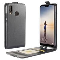 Huawei P20 Lite Verticale Flip Hoesje met Creditcardvak - Zwart