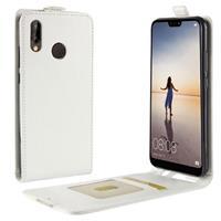 Huawei P20 Lite Verticale Flip Hoesje met Creditcardvak - Wit
