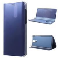 Luxury Mirror View Huawei Mate 10 Lite Flip Cover - Blauw