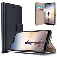 Huawei P20 Lite Saii Klassiek Wallet Case - Zwart