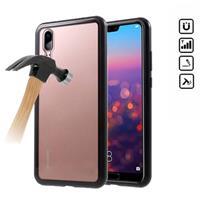 Huawei P20 Magnetisch Cover met Gehard glas Achterkant - Zwart