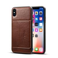 Apple iPhone XS Max TPU Hoesje Donkerbruin met Pashouder