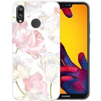 B2Ctelecom Huawei P20 Lite TPU Hoesje Roze en Witte Bloemen