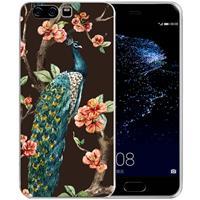 B2Ctelecom Uniek TPU Hoesje Pauw met Bloemen Huawei P10 Plus