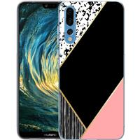 B2Ctelecom Huawei P20 Pro TPU Hoesje Pink Black Shapes