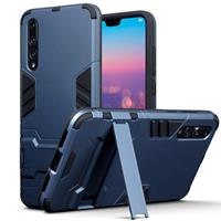 Qubits Double Armor Layer hoes met stand - Huawei P20 Pro - blauw