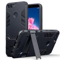 Qubits Double Armor Layer hoes met stand - Huawei P Smart - zwart