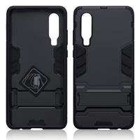 Qubits Double Armor Layer hoes met stand - Huawei P30 - Zwart