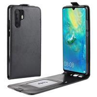 Huawei P30 Pro Verticale Flip Hoesje met Creditcardvak - Zwart