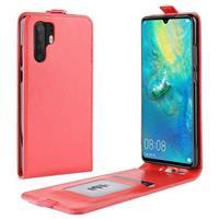 Huawei P30 Pro Verticale Flip Hoesje met Creditcardvak - Rood