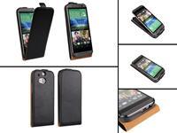 HTC One M8 Flip Case Echt leer 123BestDeal zwart