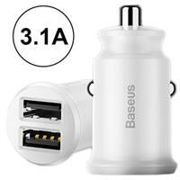 Baseus Grain Mini Smart Dubbele USB Autolader - 3.1A - Wit