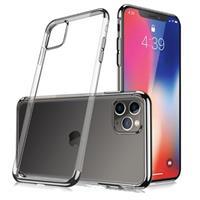 Sulada Plating Frame iPhone 11 Pro Max TPU Hoesje - Zwart / Doorzichtig