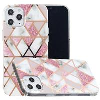 Marble Pattern Gegalvaniseerd IMD iPhone 12 Pro Max TPU Hoesje - Rose Gold