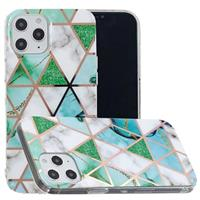 Marble Pattern Gegalvaniseerd IMD iPhone 12 Pro Max TPU Hoesje - Wit / Cyan