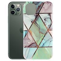 Marble Series iPhone 11 Pro Max TPU Case - Groen / Blauw