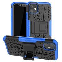 Anti-Slip iPhone 11 Hybrid Case met Standaard - Blauw / Zwart