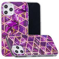 Marble Pattern Gegalvaniseerd IMD iPhone 12 Pro Max TPU Hoesje - Paars