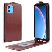 iPhone 11 Verticale Flip Hoesje met Creditcardvak - Bruin