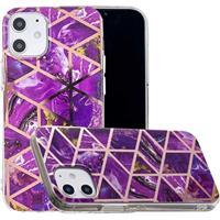 Marble Pattern Gegalvaniseerd IMD iPhone 12 mini TPU Hoesje - Paars