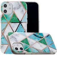 Marble Pattern Gegalvaniseerd IMD iPhone 12 mini TPU Hoesje - Wit / Cyan