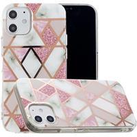 Marble Pattern Gegalvaniseerd IMD iPhone 12 mini TPU Hoesje - Wit / Roze