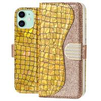 Croco Bling iPhone 11 Wallet Case - Goud