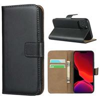 iPhone 12 mini Wallet Leren Hoesje met Standaard - Zwart