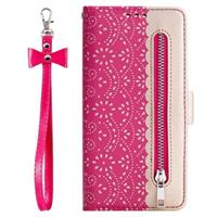 Lace Pattern iPhone 11 Pro Wallet Case - Hot Pink