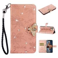 Sparkly Bee Series iPhone 11 Pro Max Wallet Case - Rose Gold