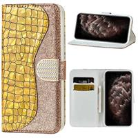 Croco Bling Serie iPhone 12 Pro Max Wallet Case - Goud