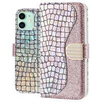 Croco Bling iPhone 11 Wallet Case - Zilver