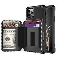 Business Style iPhone 11 Pro Max TPU Case met Portemonnee - Zwart